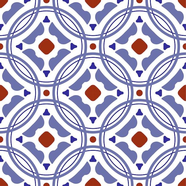 セラミックタイルパターン、カラフルなパッチワークトルコスタイル、装飾的な花ポルトガル飾りで飾られたヴィンテージ Premiumベクター