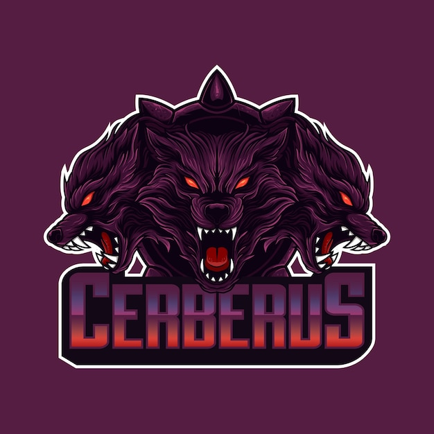 Логотип талисмана cerberus head Premium векторы