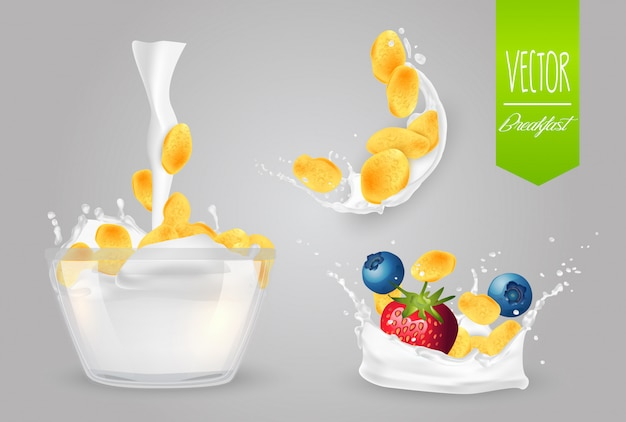 Cereal with milk and berries Premium Vector