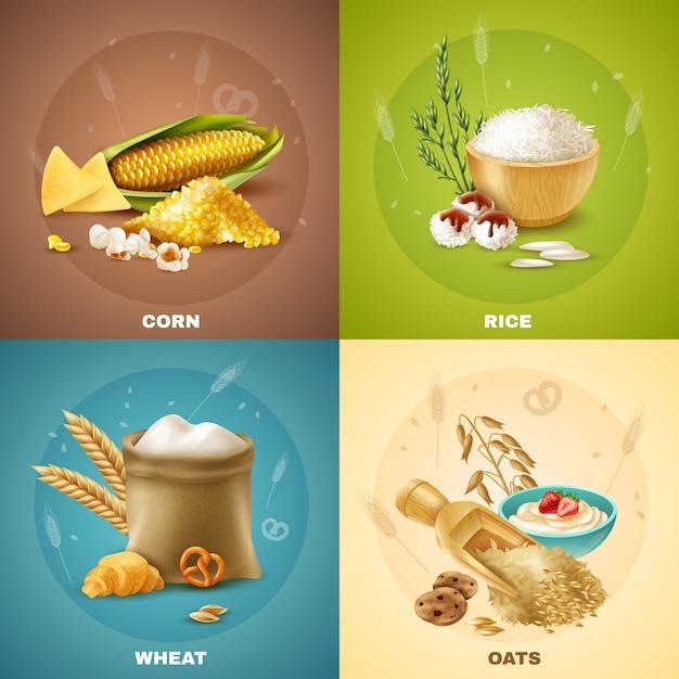 Cereals illustration set Free Vector