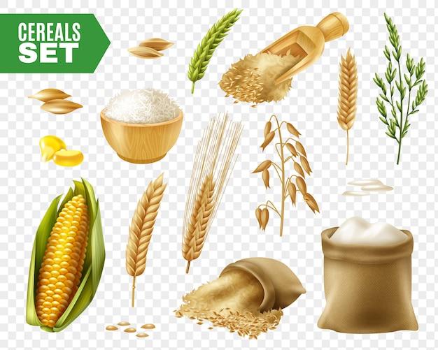 Set trasparente di cereali Vettore gratuito