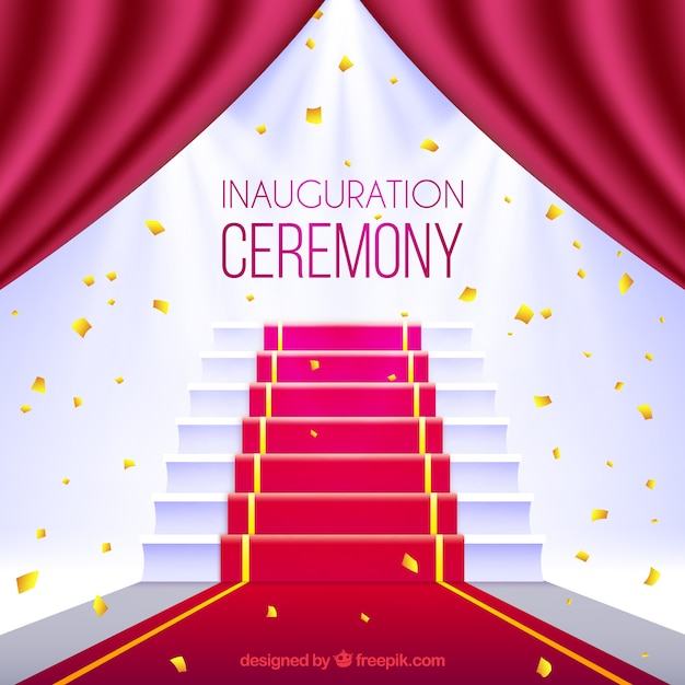 Ceremony with red carpet and stairs Free Vector