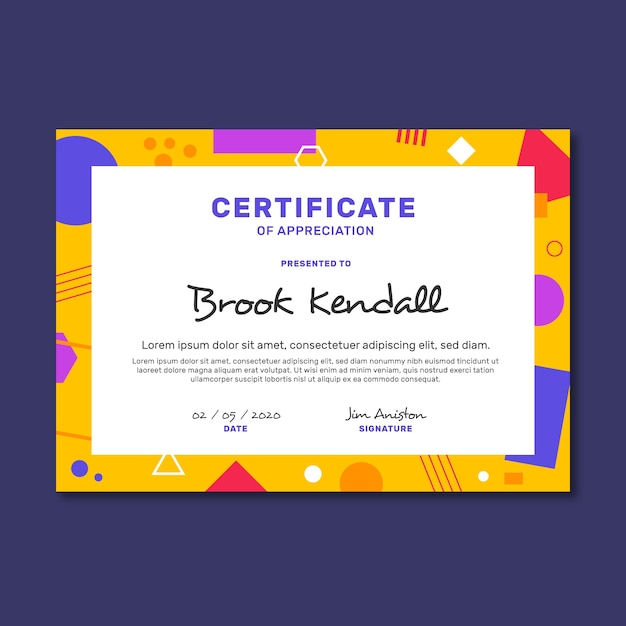 Certificate abstract geometric template Free Vector