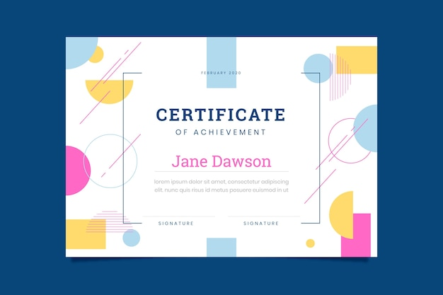 Certificate of achievement abstract template Free Vector