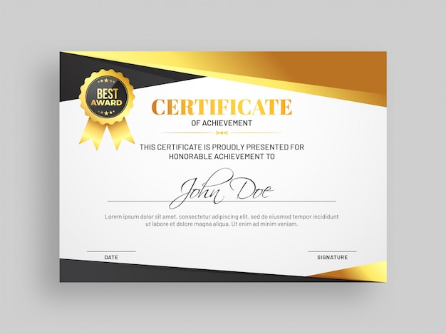 certificate of achievement template with grey and golden
