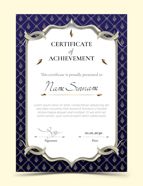 Certificate of achievement template with traditional blue thai pattern border Premium Vector
