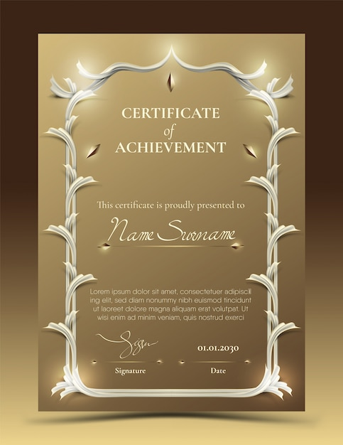 Certificate of achievement template with traditional gold border Premium Vector