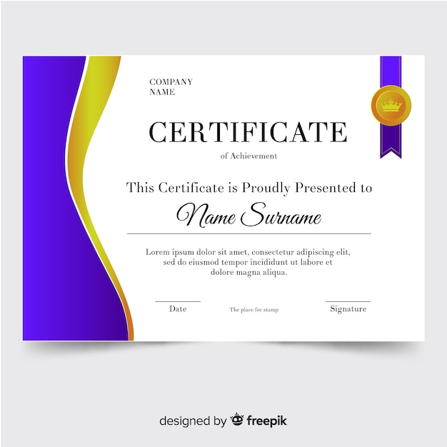Certificate Of Achievement Template Free Vector
