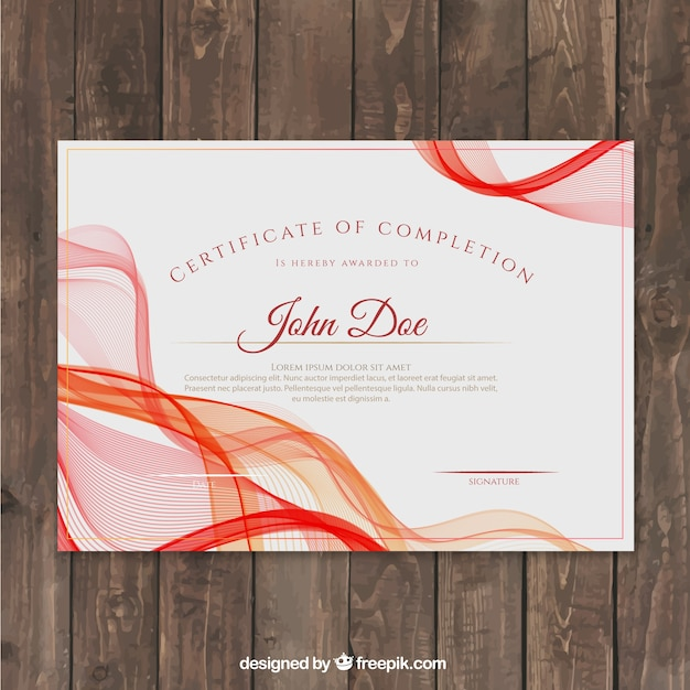 Certificate of achievement with red wavy shapes Free Vector