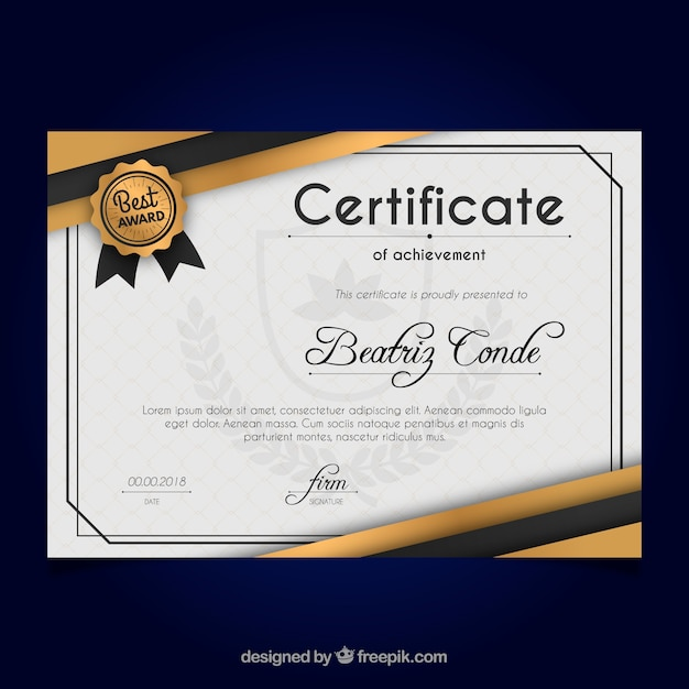 Certificate of achievement Free Vector
