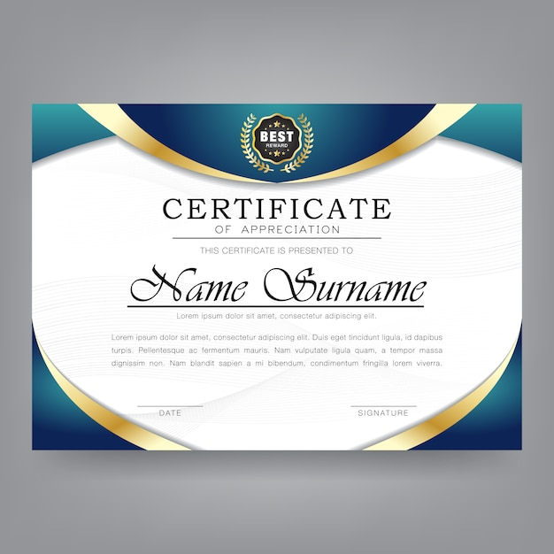 Certificate of appreciation modern template Premium Vector