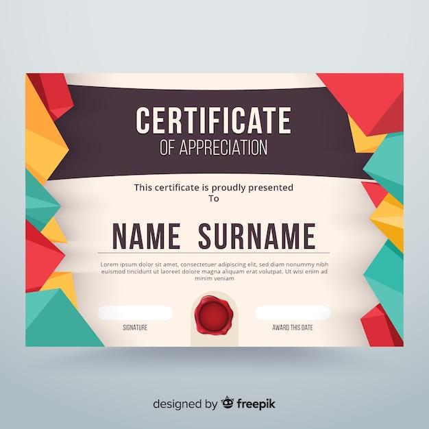 Certificate of appreciation Free Vector