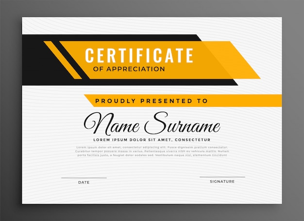 Certificate award diploma template in yellow color Free Vector