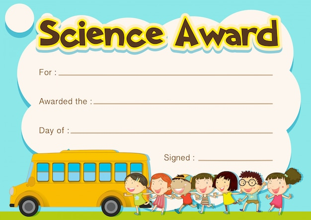 Certificate award with children and school bus background Free Vector