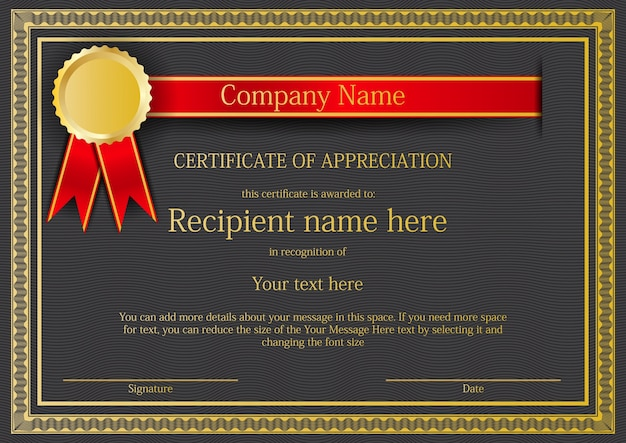 Certificate Border Template With Red Ribbon And Gold Medal Vector