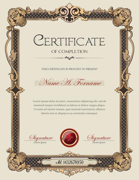 Certificate of completion portrait with antique vintage ornament frame Premium Vector