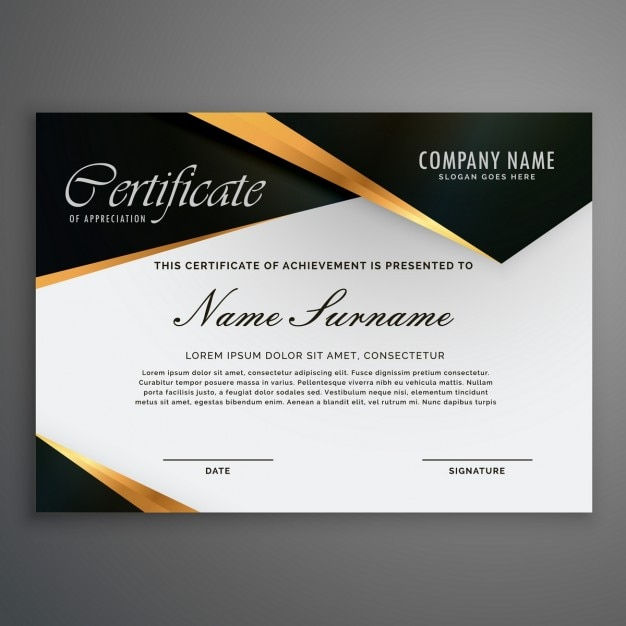 six sigma black belt certificate template - certificate decorated with black shapes and golden lines