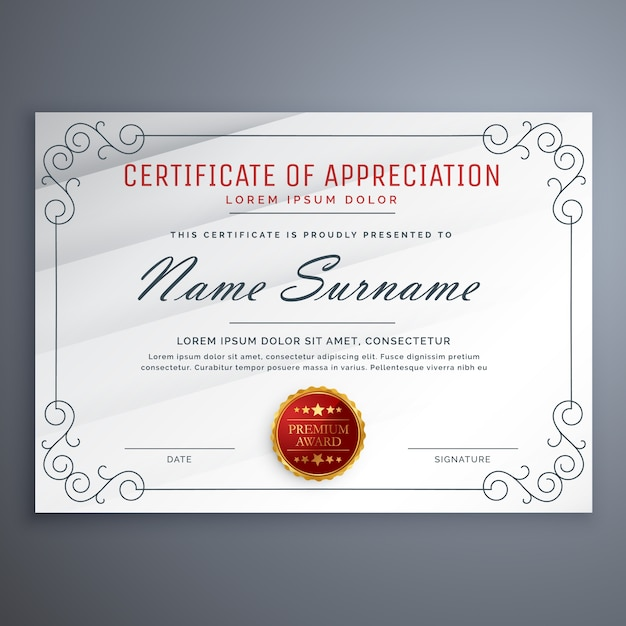 Certificate Design Template With Decorative Border Vector Free