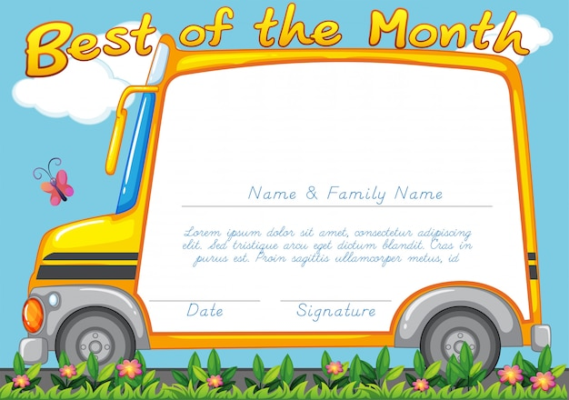 Certificate design with school bus background Free Vector