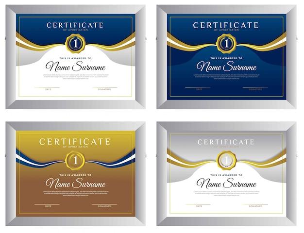 証明書はシンプルでエレガントでモダンな賞をデザインしています Premiumベクター