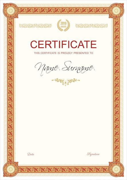 Certificate or diplom retro vintage template Premium Vector