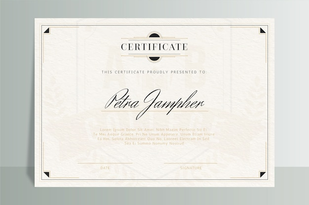 Certificate elegant template with frame Free Vector