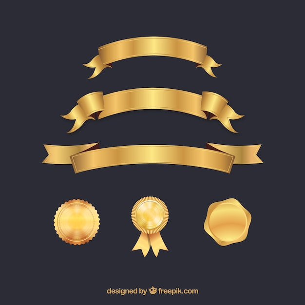 Certificate elements collection in golden color Free Vector