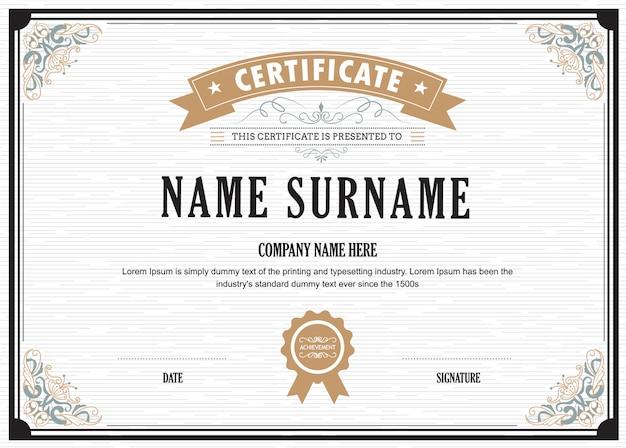 Certificate flourishes elegant vector template Premium Vector