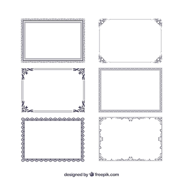 Certificate frames collection with ornaments Free Vector