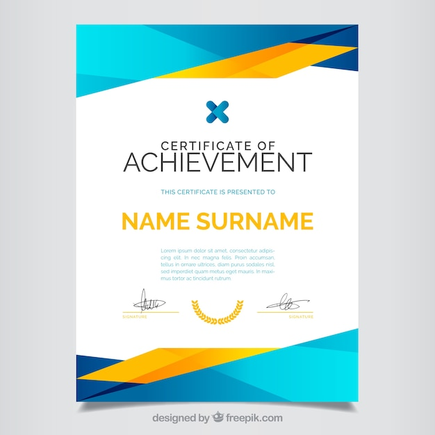 Certificate template vectors photos and psd files free download certificate of achievement full color yelopaper