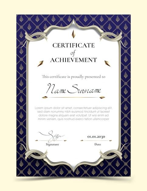 Сертификат достижения шаблона с традиционной синей тайской рамкой Premium векторы