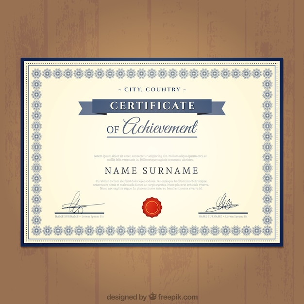 Certificate of achievement template Vector – Achievement Certificate Templates Free