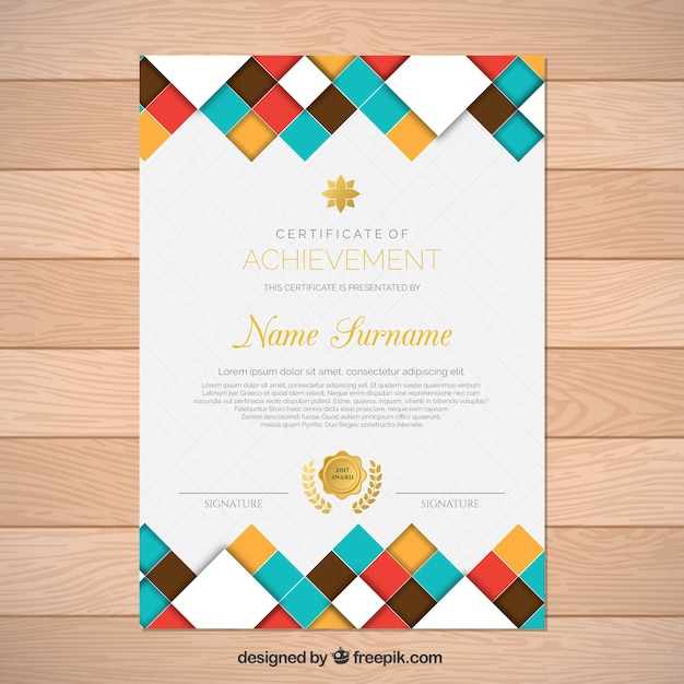 certificate of achievement with colored forms vector free download