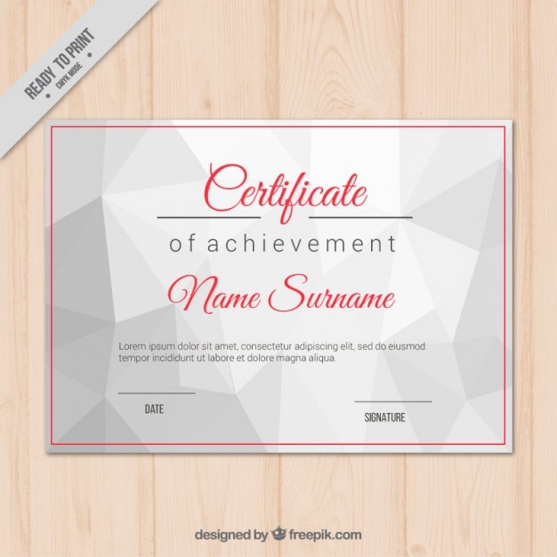 Certificate of achievement with geometric shapes Vector – Free Certificate of Achievement