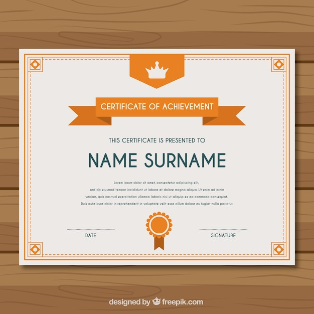 Certificate of achievement with orange elements Vector – Free Certificate of Achievement
