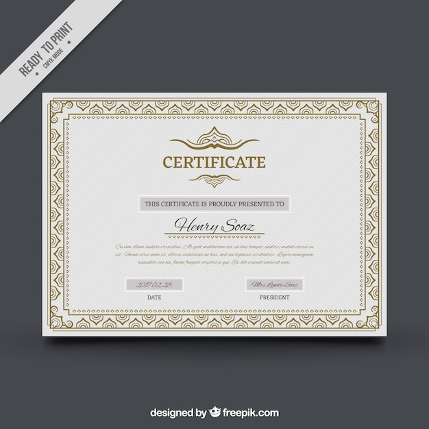 Certificate of achievement with ornamental frame Vector – Free Certificate of Achievement