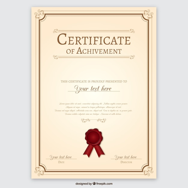 Certificate Of Achievement Free Vector  Free Certificate Of Achievement