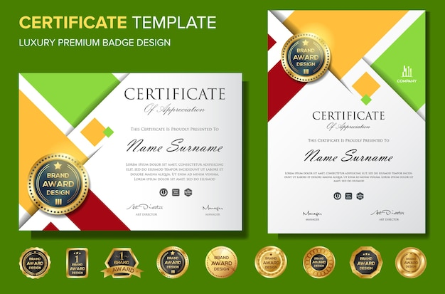 Certificate Of Appreciation Background Template With Badge Vector