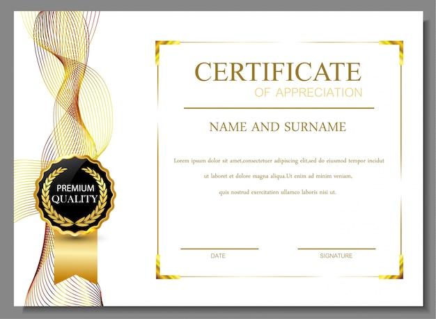 Certificate of appreciation design vector free download for Certificate of appreciation template psd free download