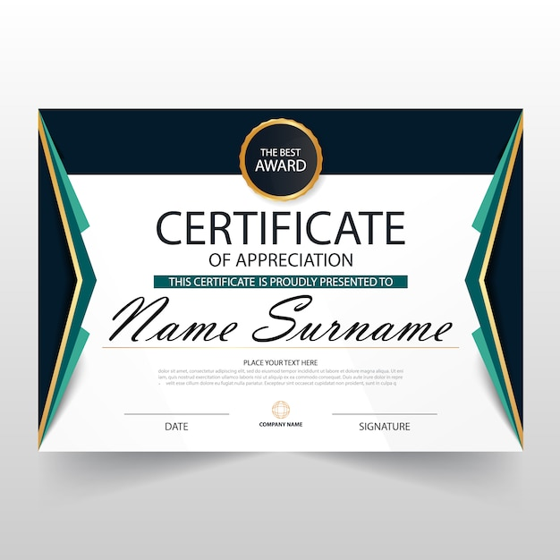 certificate of appreciation template vector free download