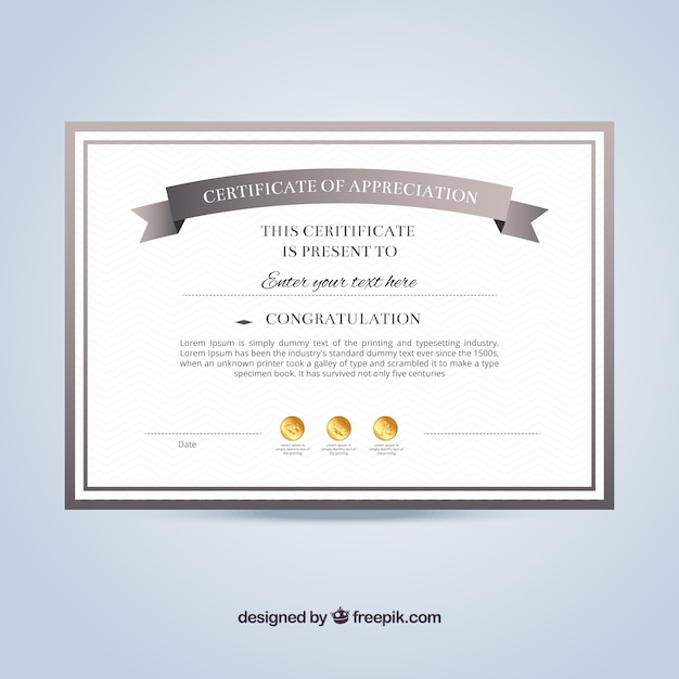 Certificate of appreciation template Vector – Free Template Certificate