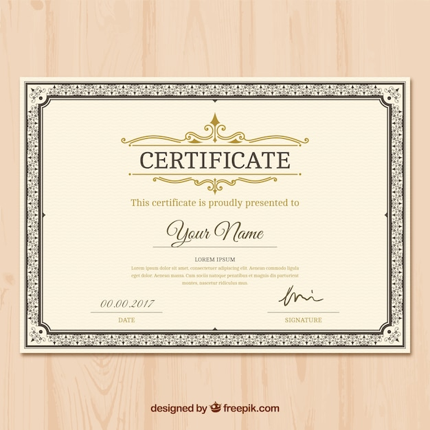 Certificate of appreciation with ornamental decoration Vector ...