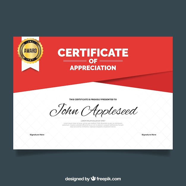 Certificate Of Appreciation With Red Shapes Vector