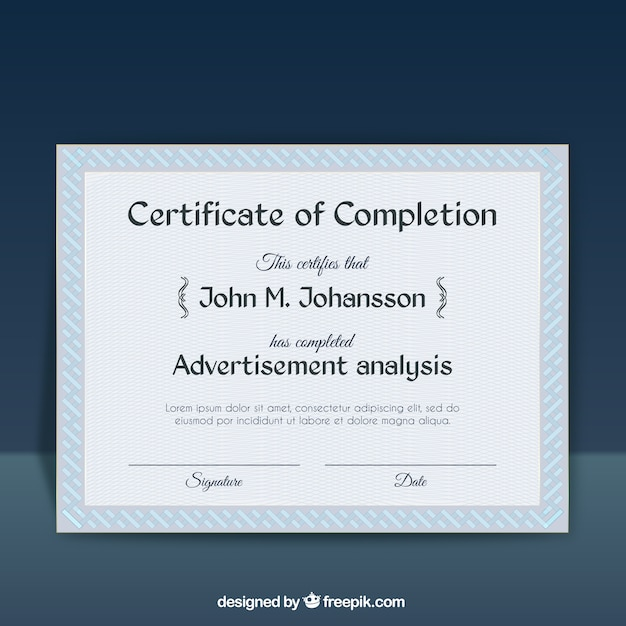 Certificate Of Completion Template Free Vector  Certificate Of Completion Template Free