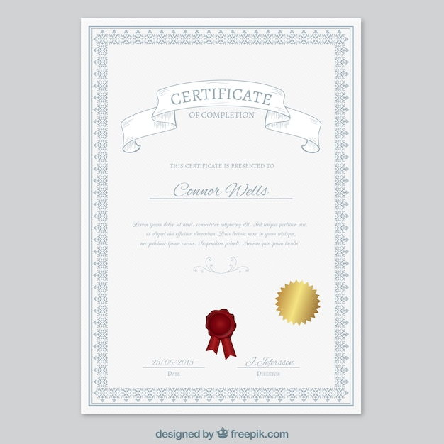 Certificate of completion Free Vector