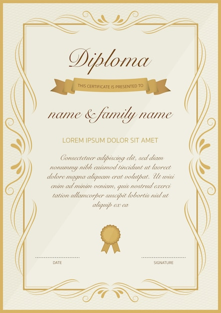 certificate of diploma template with golden floral design vector