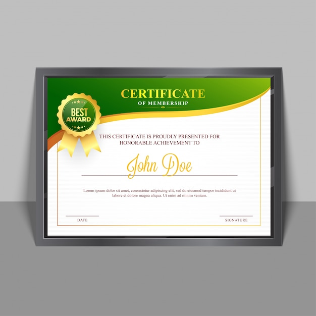 Certificate Of Membership Template With Green And Golden Design And