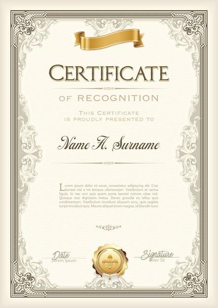 Свидетельство о признании старинная рамка с золотой лентой. портрет. Premium векторы