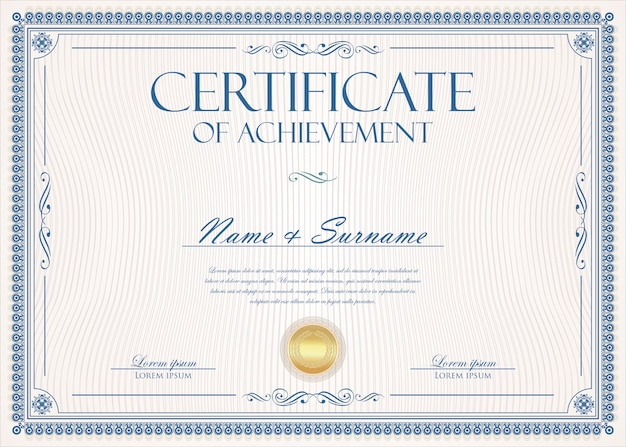 Сертификат или диплом ретро винтаж шаблон Premium векторы