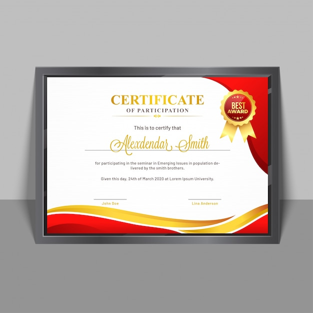Certificate Of Participation Template With Yellow And Red
